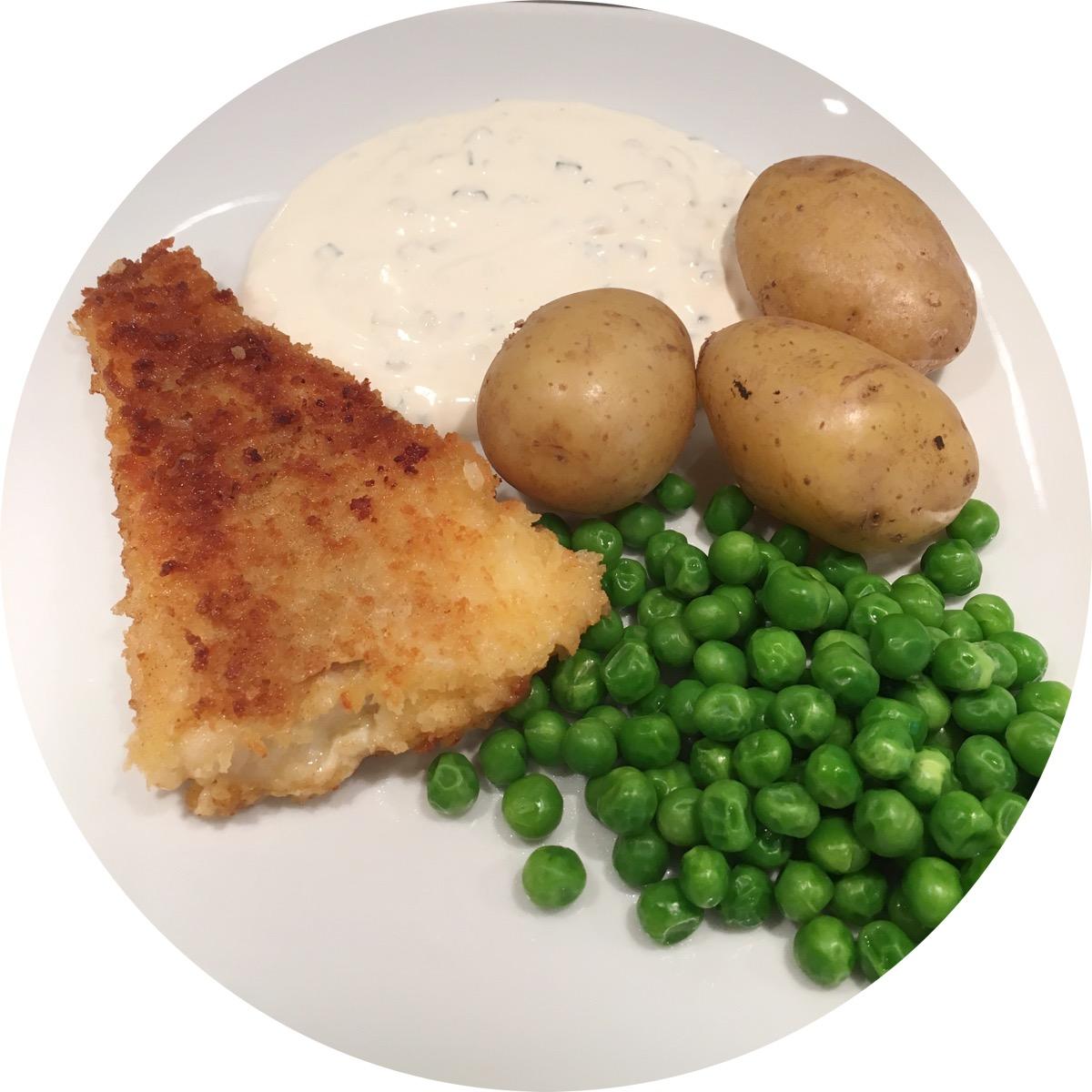 fisk potatis och kall sås