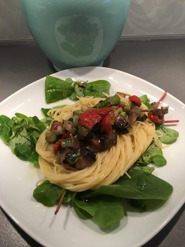 Spagetti med portabello och gorgonzola